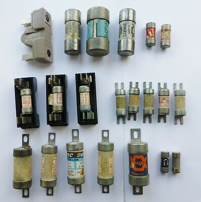 (Job Lot of 21) Various cut-out barrel fuses  from 6amp to 100amp All tested for