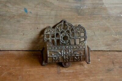 Antique Eastlake Victorian Cast Iron Wall Mount Match Holder