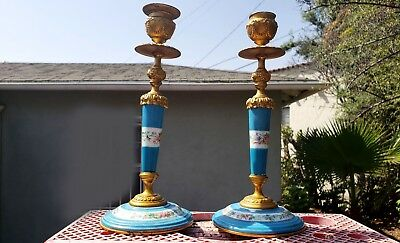 An Antique Pair of Candlestick Sevres Style