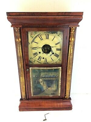 Antique Old Hand Painted Cardboard Paper Front Seth Thomas CT Wall Clock Parts