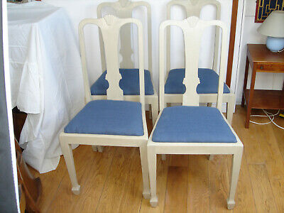 Set of 4 1930s Mahogany Dining Chairs Queen Anne style Light Grey Anne Slone