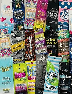 Assorted Premium Tanning Lotion Sample Packets *Lot of 10* Different Samples