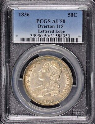 1836 50C Lettered Edge Overton 115 Capped Bust Half Dollar PCGS AU50 R3