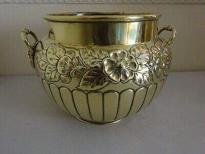 Victorian Floral Decorative Brass Jardiniere White & Sons Oxford St Head Handles