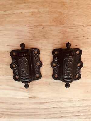 "Antique 4"" Victorian Self Closing Cast Iron Hinges"