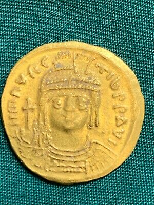 Maurice Tiberius Gold Solidus Coin  Byzantine Constantinople XF+  582 - 602 AD