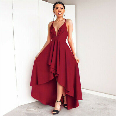 Womens Deep V Neck Maxi Dress Backless Sleeveless Formal Prom Sling Dress Zsell
