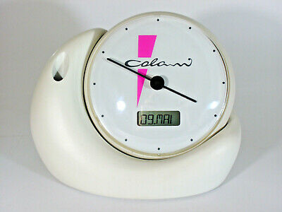 LUIGI COLANI Space Age White TABLE CLOCK ON STAND (SNAKE) 1970/80s SIGNED