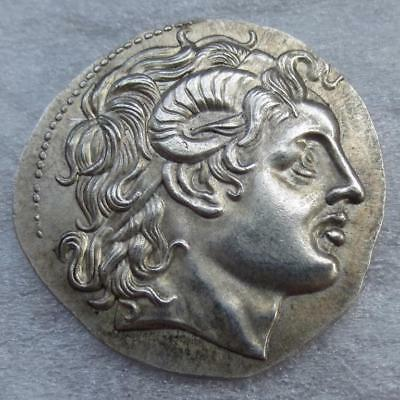 Ancient Greek Coin Rare Tetradrachm Macedonian King -415 BC Metal Plated Cleaned