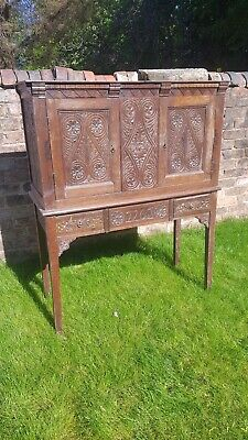 18th century antique carved oak drinks cabinet