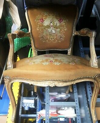 Beautiful Antique French Provincial Style Petit Point Arm Chair