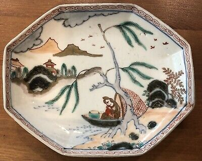 Antique 1810 Imari China Plate Oblong Bird Dish Purchased In Japan Toraya Co