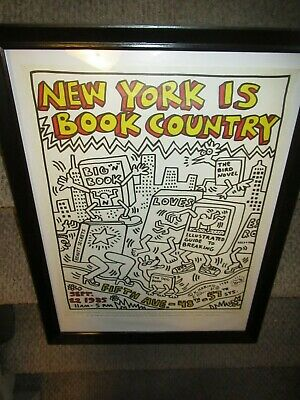 Keith Haring Signed New York Is Book Country Lithographic Poster 1985