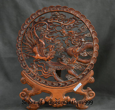 "15"" Old Chinese Huanghuali Wood Dynasty Palace Dragon Phoenix Lucky Fold Screen"