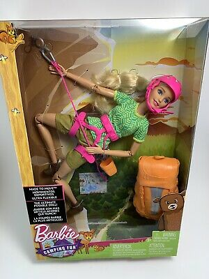 BARBIE CAMPING FUN DOLL TOY -Made To Move Ultra Flexible Rock Climbing -NEW