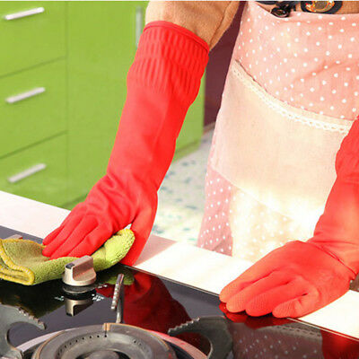 Household Rubber Gloves Latex Kitchen Long Dish Washing Cleaning Protect Hand UK