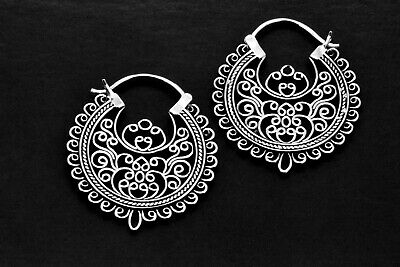 925 Sterling Silver Round Oxidized Vintage Antique Curled Style Dangle Earrings