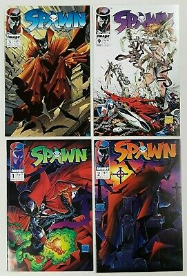 **SPAWN #1, #2, #3 + #9 LOT OF 4**(1992, IMAGE)**TODD McFARLANE**NM TO VF**HOT!