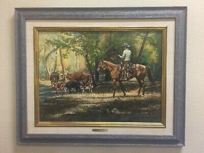 "Tim Cox original oil painting western cowboy ""Riding the Herd"" 23.5 x 17.5"