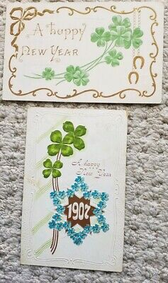 2 Vintage New Year's Postcards 1907&13, Shamrocks/Clovers and Horseshoes