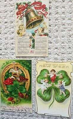 3 Vintage New Year's Postcard With Angels, 1911 Calendar and Good Luck Symbols