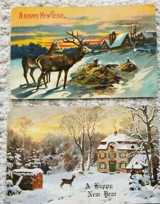2 Vintage New Year's Postcards circa 1910 - Deer and Snowy Winter Scenes