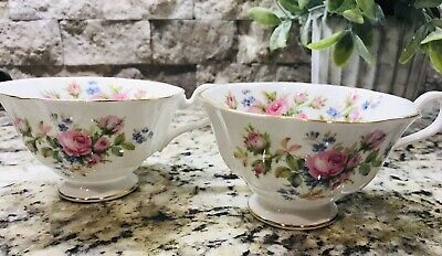 "Set Of 2 Royal Albert English Bone China Tea Cups, ""Moss Rose"""
