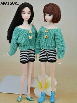 Green Color Clothes For 11.5in Doll Knitted Sweater Skirts Shorts For 1/6 Doll