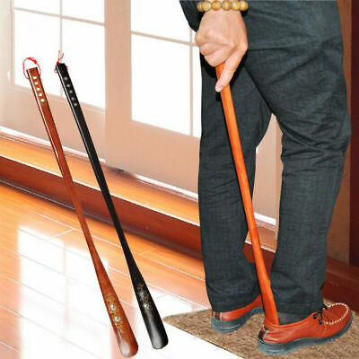 Extra Long Handle Shoehorn Shoe Horn AID Stick Wooden Sturdy Smooth Edge 2Color