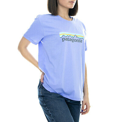 Patagonia W Pastel P-6 Logo - Light Violet Blue Crew Neck T Shirt Womens Purple