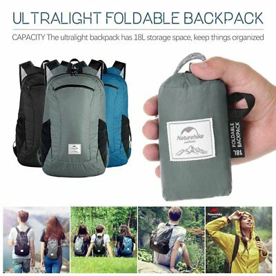 Water Resistant Foldable Backpack Ultralight Packable Camp Daypack Travel Bag JP
