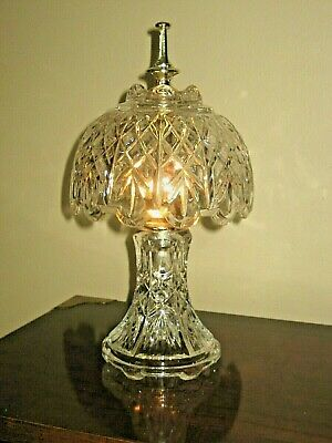Vintage Heavy Clear Cut Crystal Glass Lamp Vanity Table Night Light
