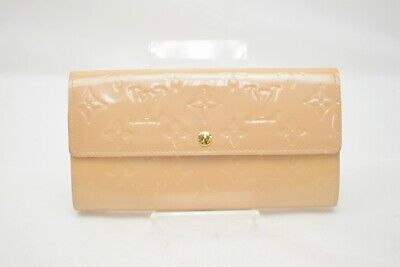 571430944a Authentic Louis Vuitton Long Wallet Portefeuille Sarah Beiges Vernis 308835