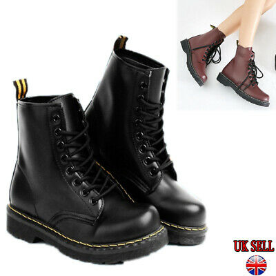 Uk Womens Ankle Boots Combat Army Military Biker Flat Lace Up Work Shoes Black