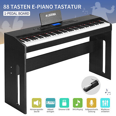 E-Piano Klavier 88-Tasten Keyboard mit 1 Pedal Digital Adapter USB/MP3 Schwarz