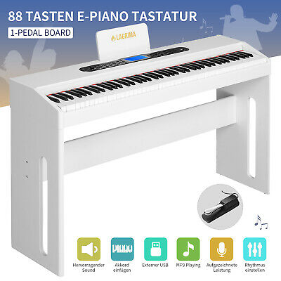 E-Piano Weiß Klavier 88-Tasten 1-Pedal Digital elektronisch Keyboard USB/MP3