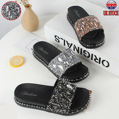 Uk Women Lady Diamante Sliders Slippers Sparkly Sandals Mules Party Beach Shoes