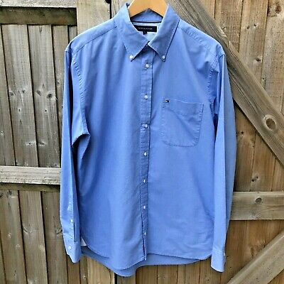 Tommy Hilfiger Mens Blue Long Sleeve Button Down Shirt Size L VGC Chest 44""