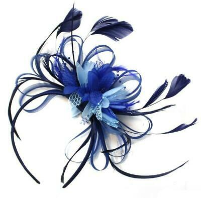 Navy Blue, Royal Blue and Light Blue Fascinator Headband UK Wedding Ascot Races