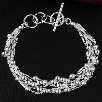925 Silver Plated Beads Bracelet Jewelry Bangle Hollow Women Chain Gift Cheap
