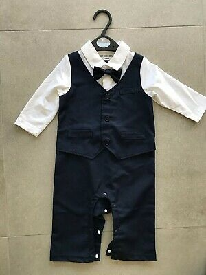 Excellent Cond.Baby Boy All-in-One Navy Wedding Christening Formal Party Outfit