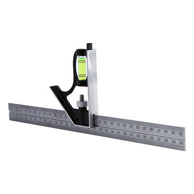 Stainless Steel 300mm Adjustable Combination Square Set Right Angle Ruler Kit