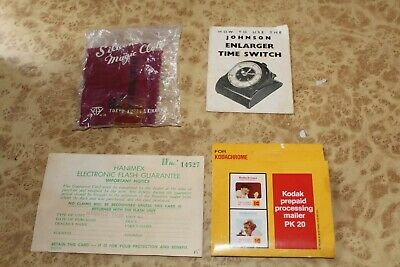 Lot of 4 Vintage Instructions Lens Cloth Hanimex Guarantee Kodak Prepaid