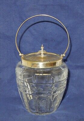 Vintage Art Deco Silver Plate and Cut Glass Biscuit Barrel