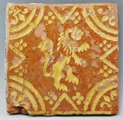 17Th/18Th Century Glazed Tile Depicting Rampant Lion (764K)
