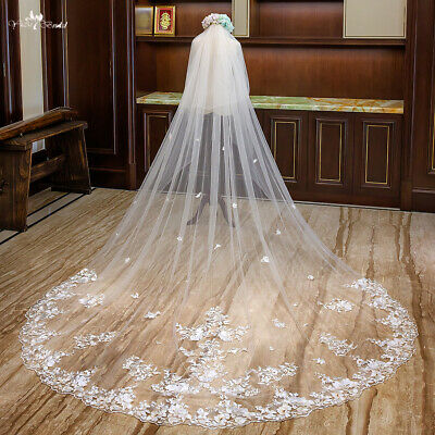 Blusher Wedding Veils Bridal Cathedral Length Lace Applique White Ivory 2T +Comb