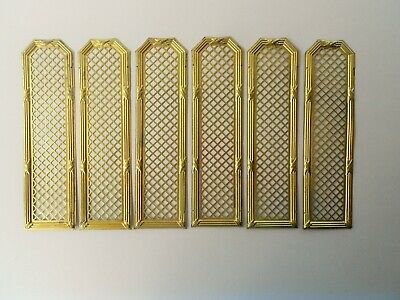 Antique French Set Of 6 Ornate Brass Door Pierced Finger Plates Pushes Gilded