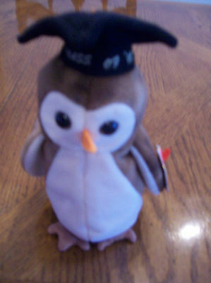 """TY Beanie Baby Retired """"Wise"""" with original Tags 1997 PE Pellets"""