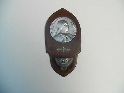 ANTIQUE/VINTAGE SILVER BRASS PLATED & WOOD VIRGIN MARY HOLY WATER FONT 19th.