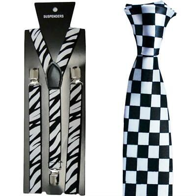 Ska Two Tone Instant Kit Matching Braces Trilby Hat Adult Fancy Dress Accessory